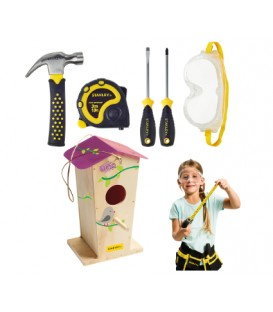 Tall Birdhouse and 5 pieces Tool kit Pink