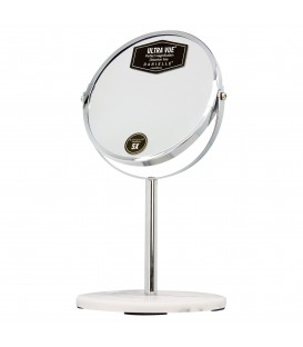 5X SILVER AND MARBLE VANITY MIRROR