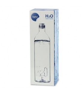 Bottle of water made in glass H2O