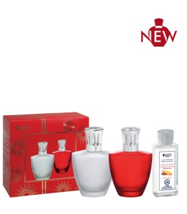 Red Satin Lampe Berger Set