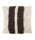 Coussin en tricot double ligne