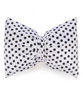 Black bow cushion - white polka dot