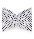 White bow cushion - black polka dot