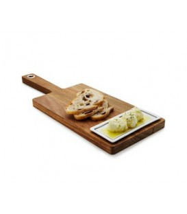 Wooden paddle with oil dish