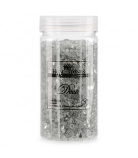 Glitter glass stones in jar -silver pink