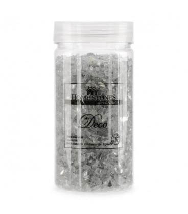 Glitter glass stones in jar -silver pink