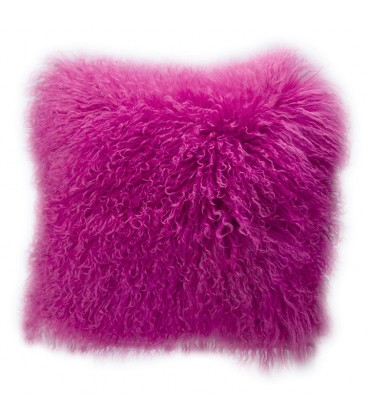 Real mongolian fur cushion - Pink