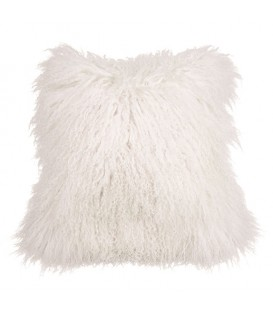 Real mongolian fur cushion - White
