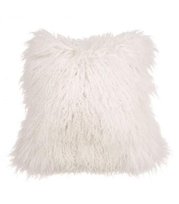 Coussin vraie fourrure mongolien - Blanc