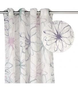 Rideau à motifs floraux gris & violet