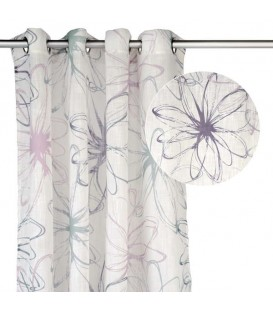 White curtain grey & purple floral