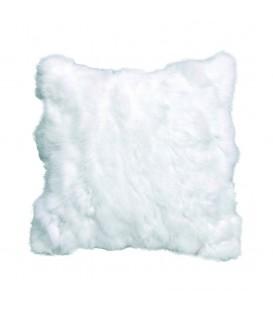 Coussin en vraie fourrure lapin blanc ALE