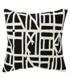 Black and white embroided cushion ANDALUSIA