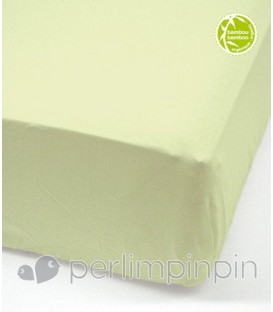 Crib bamboo fitted sheet - CELERY