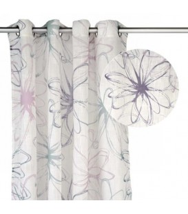 White curtain with grey and purple pattern FLORAL