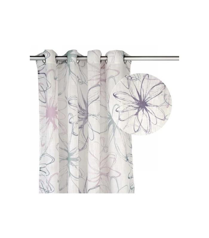 rideau blanc motif gris mauve floral. Black Bedroom Furniture Sets. Home Design Ideas
