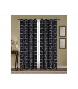 Jacquard Black Blackout window panel GEO