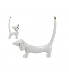 Ceramic ring holder CAT AND DOG