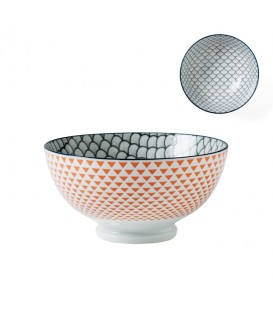 Pocelain bowl ORANGE/GREY