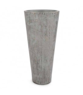 Tall grey & gold motif vase