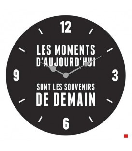 LES MOMENTS wall clock IN BLACK