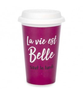 Travel mug La Vie Est Belle in pink