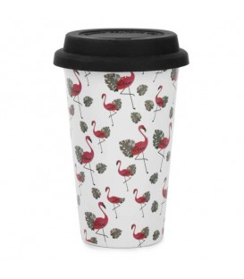 Travel mug flamingos