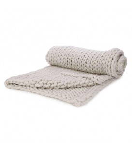 Beige braided knit throw