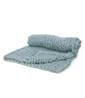 Aqua braided knit throw