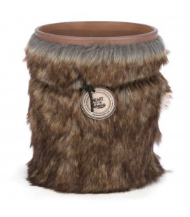 Scented candle in glass with a fur band