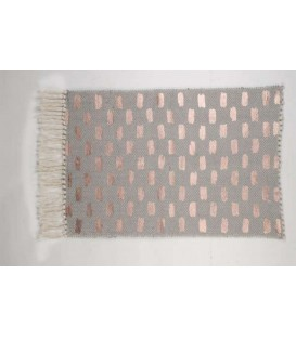 Gray woven carpet with copper pattern