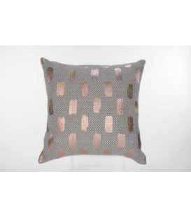 Gray woven cushion with copper pattern