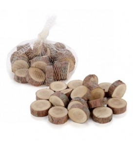 Round wood chip bag for decoration