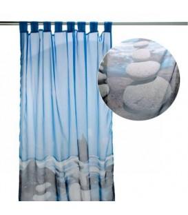 Rideau de douche bleu MOTIF DE GALET
