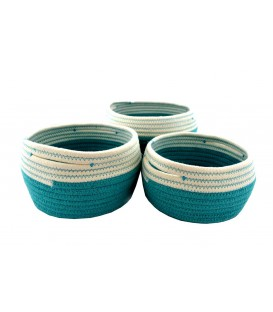 Turquoise and white storage basket