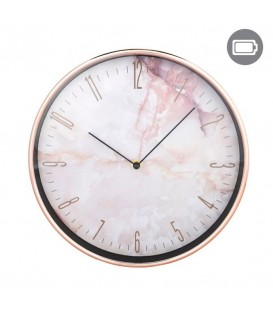 Pink and gold plastic wall clock