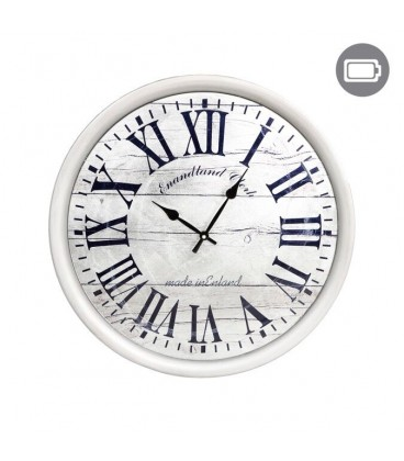 Silver metal wall clock with Roman numerals