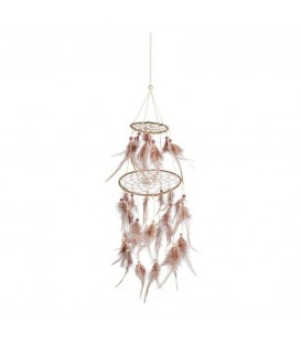 Dreamcatcher with feathers in shades of pink