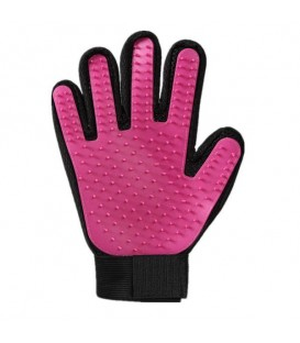 Silicone grooming glove picks up hairs
