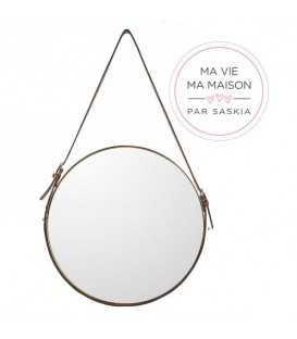 Hanging mirror with copper pattern by Saskia
