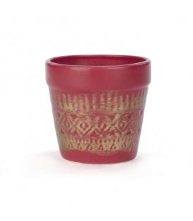 Red ceramic plant pot with gold trim