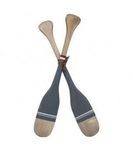Decor pair of oars in grey & natural