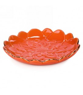Small flower platter in orange