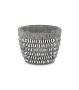 Grey cement pot with white trim