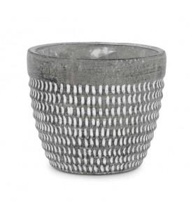 Big grey cement pot with white trim