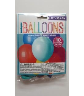 Paquet de 10 ballons couleur variés