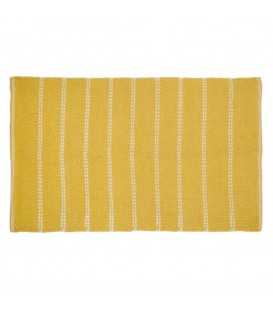 Mustard yellow carpet with woven pattern