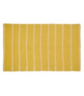 Tapis jaune moutarde à motif tissé