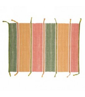 Carpet with yellow, green and pink stripe fringe