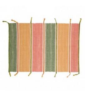 Tapis avec frange a bande jaune, vert et rose